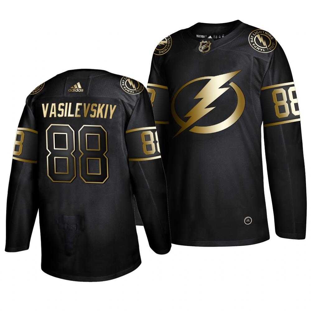 Adidas Lightning #88 Andrei Vasilevskiy Men's 2019 Black Golden Edition Authentic Stitched NHL Jersey