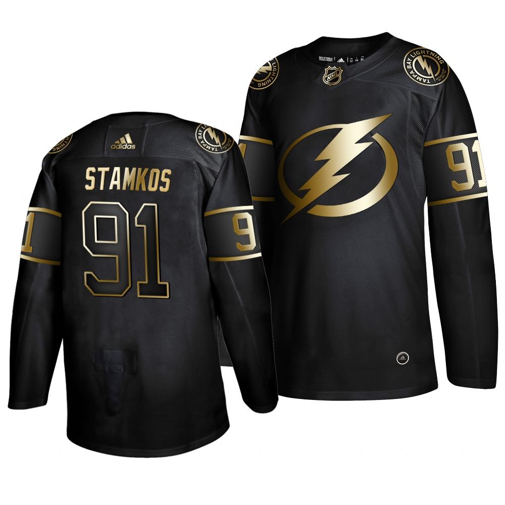 Adidas Lightning #91 Steven Stamkos Men's 2019 Black Golden Edition Authentic Stitched NHL Jersey