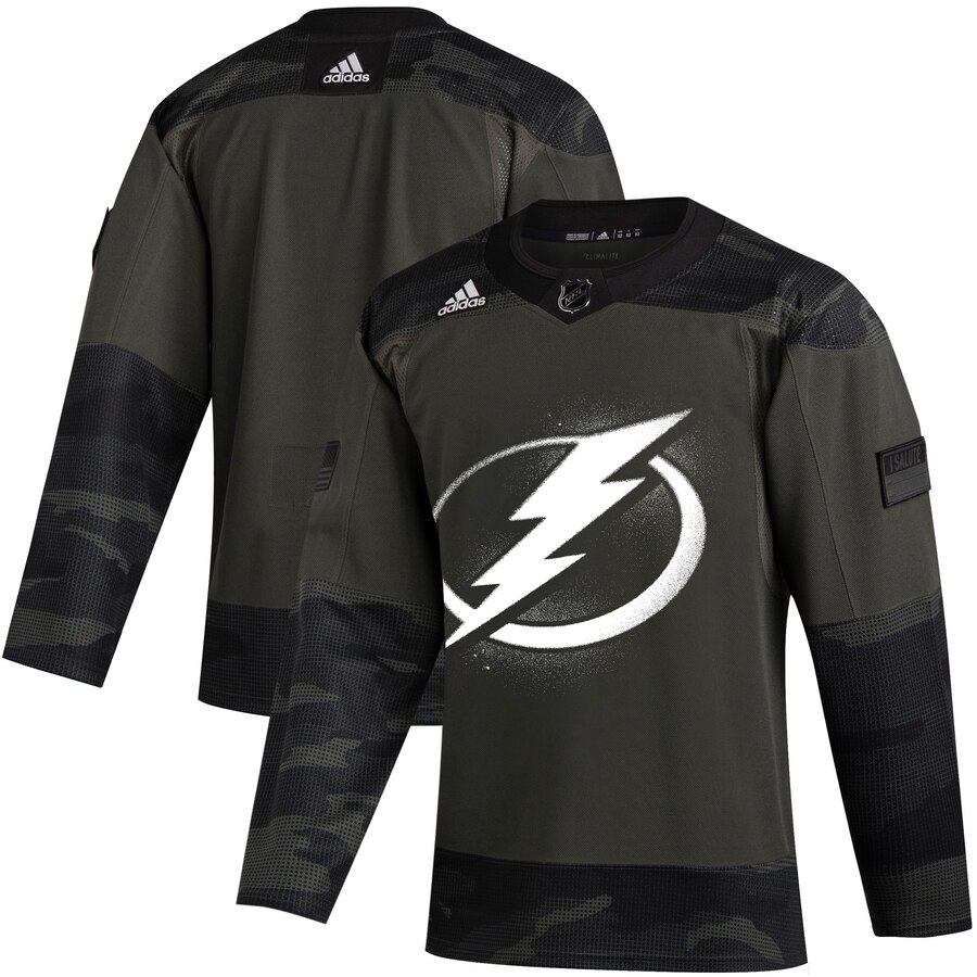Tampa Bay Lightning Adidas 2019 Veterans Day Authentic Practice NHL Jersey Camo