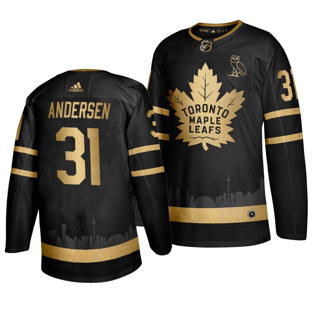 Adidas Maple Leafs #31 Frederik Andersen Men's 2019 Black Golden Edition OVO Branded Stitched NHL Jersey