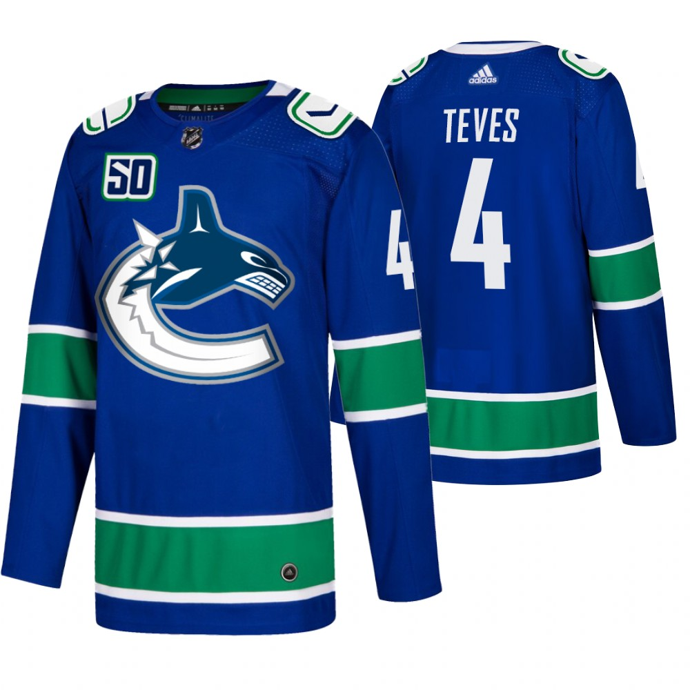 Men's Vancouver Canucks #4 Josh Teves Adidas Blue 2019-20 Home Authentic NHL Jersey