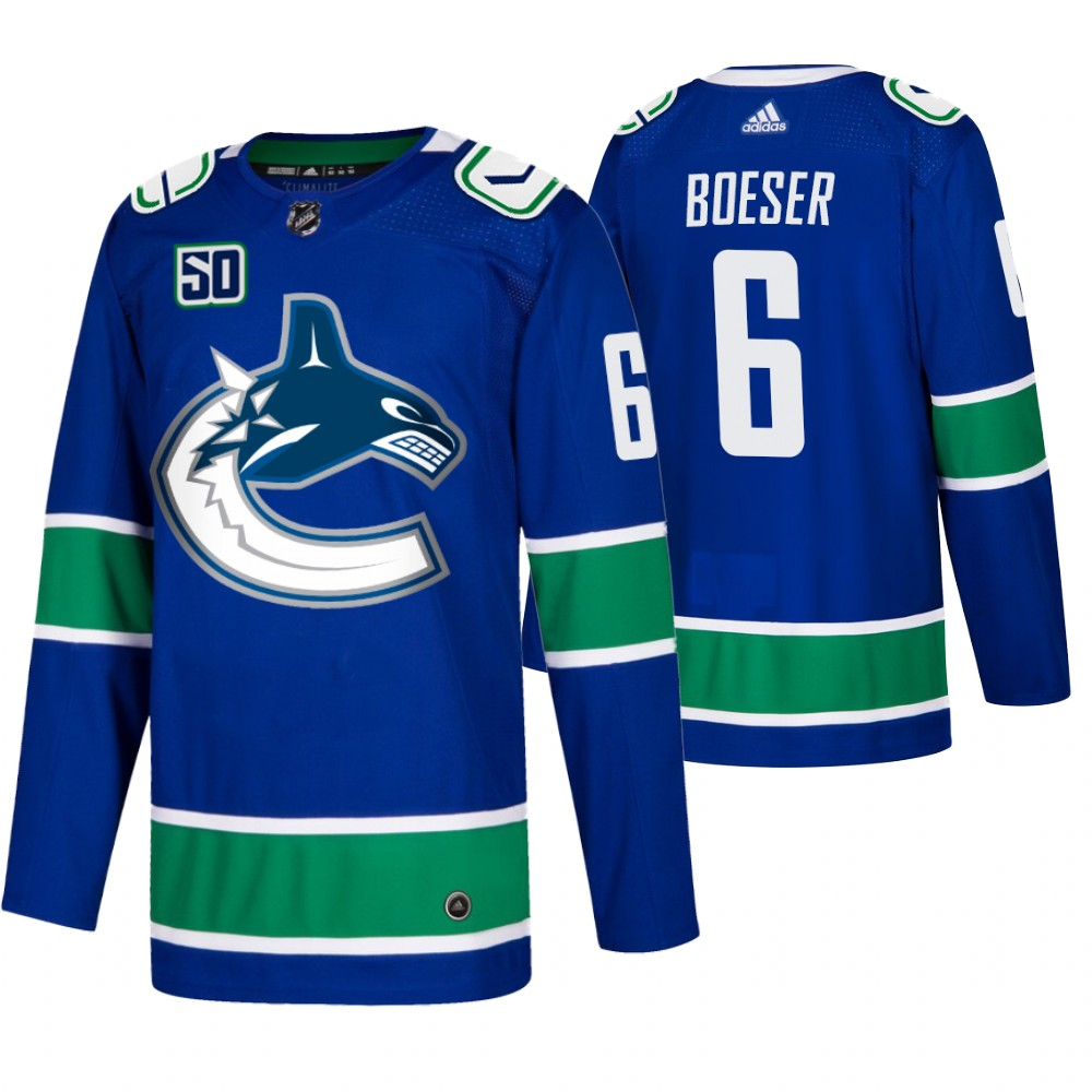 Men's Vancouver Canucks #6 Brock Boeser Adidas Blue 2019-20 Home Authentic NHL Jersey