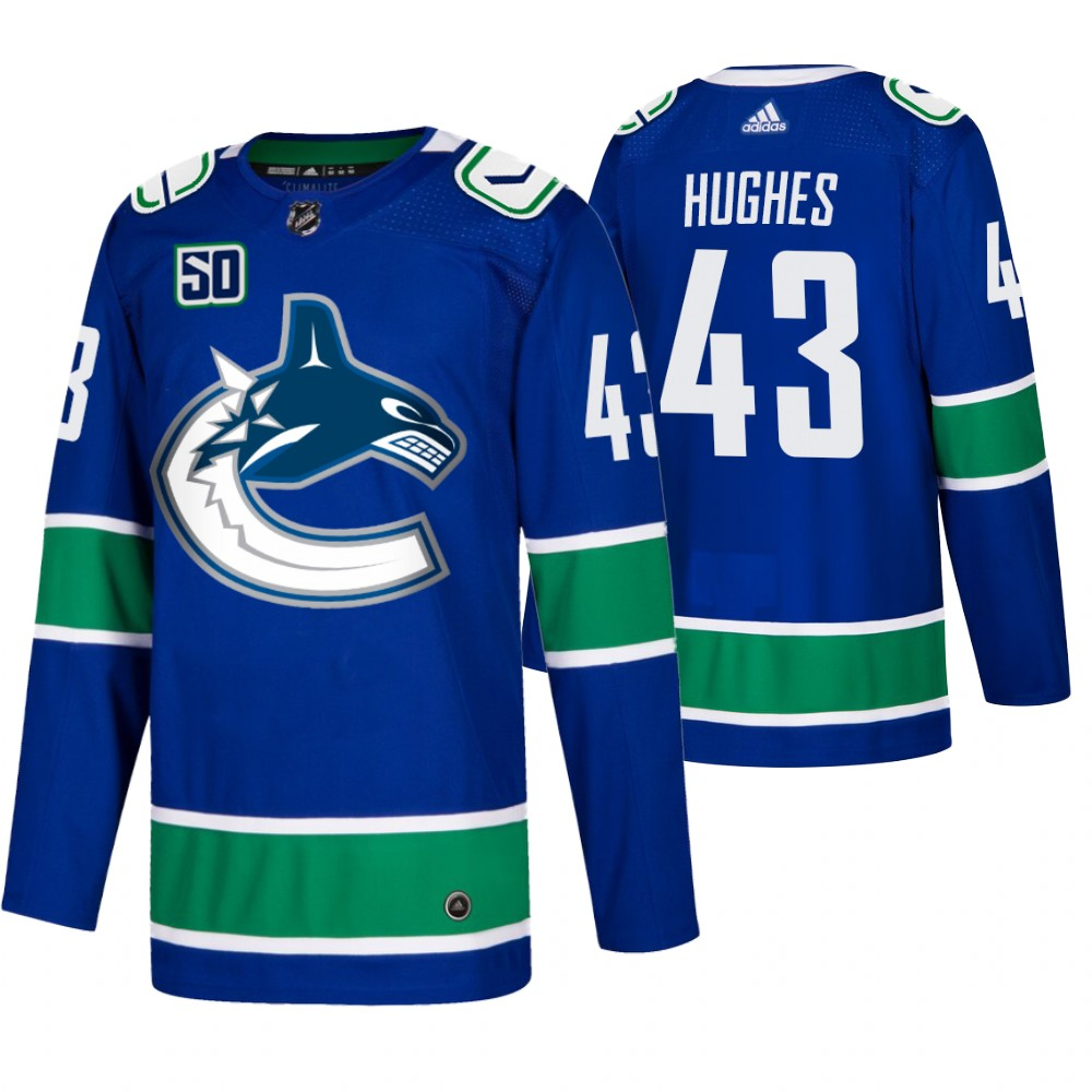 Men's Vancouver Canucks #43 Quinn Hughes Adidas Blue 2019-20 Home Authentic NHL Jersey