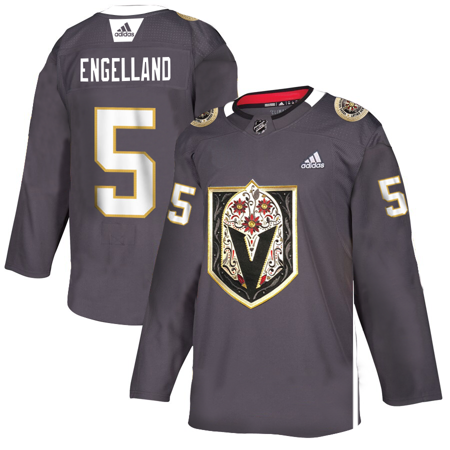 Vegas Golden Knights #5 Deryk Engelland Men's Grey Adidas Latino Heritage Night Stitched NHL Jersey