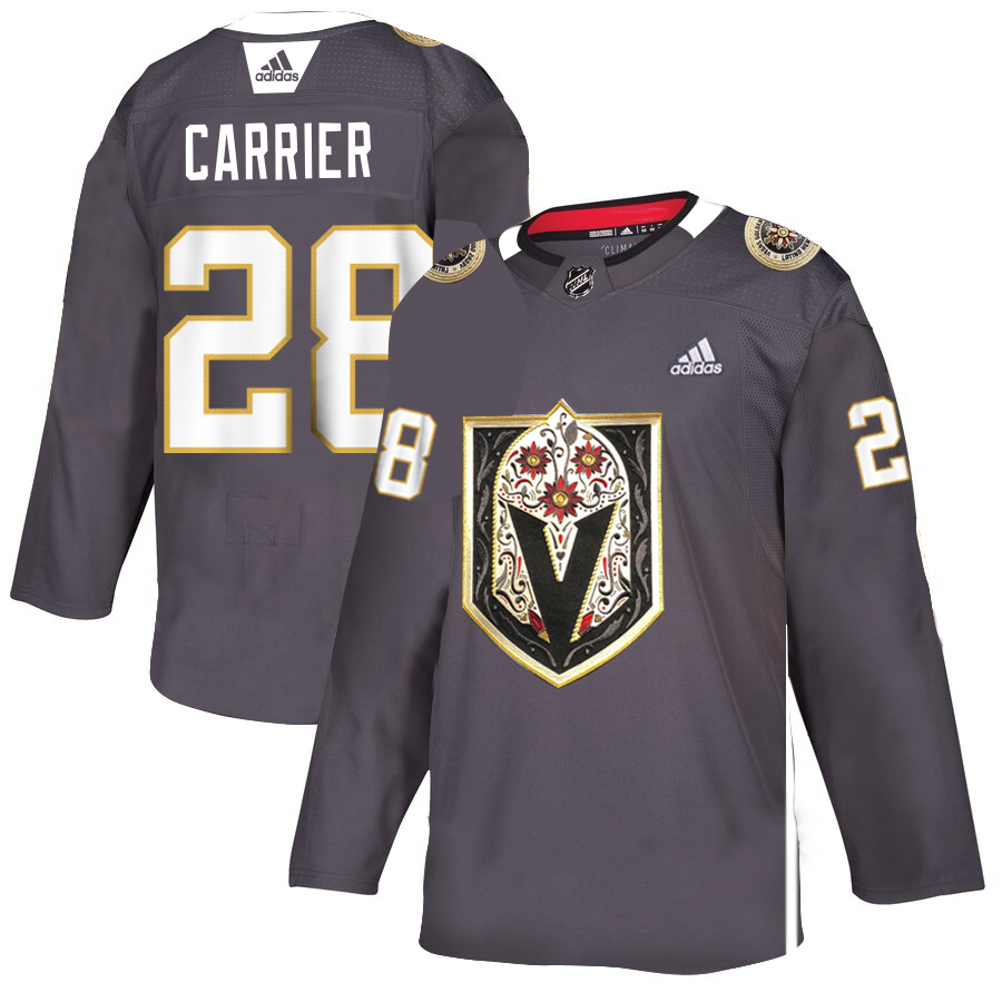 Vegas Golden Knights #28 William Carrier Men's Grey Adidas Latino Heritage Night Stitched NHL Jersey