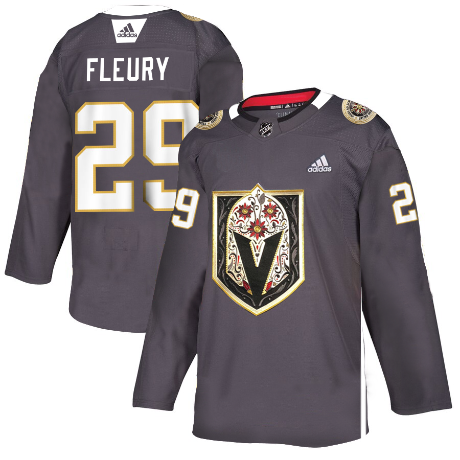 Vegas Golden Knights #29 Marc-Andre Fleury Men's Grey Adidas Latino Heritage Night Stitched NHL Jersey