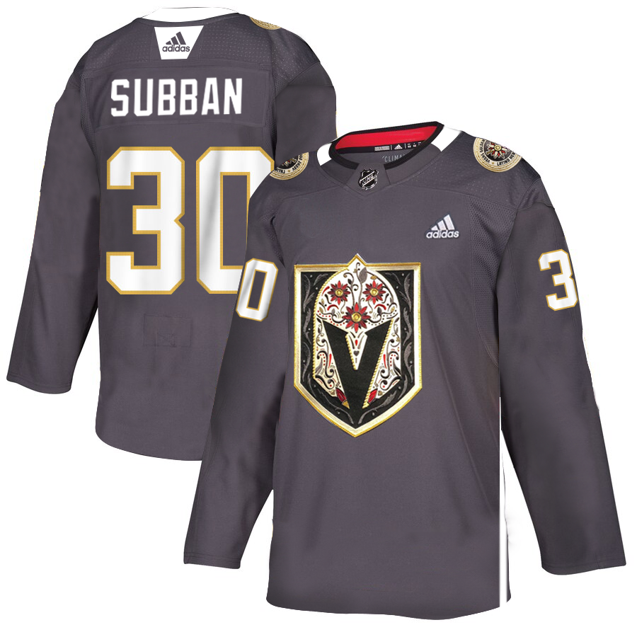 Vegas Golden Knights #30 Malcolm Subban Men's Grey Adidas Latino Heritage Night Stitched NHL Jersey