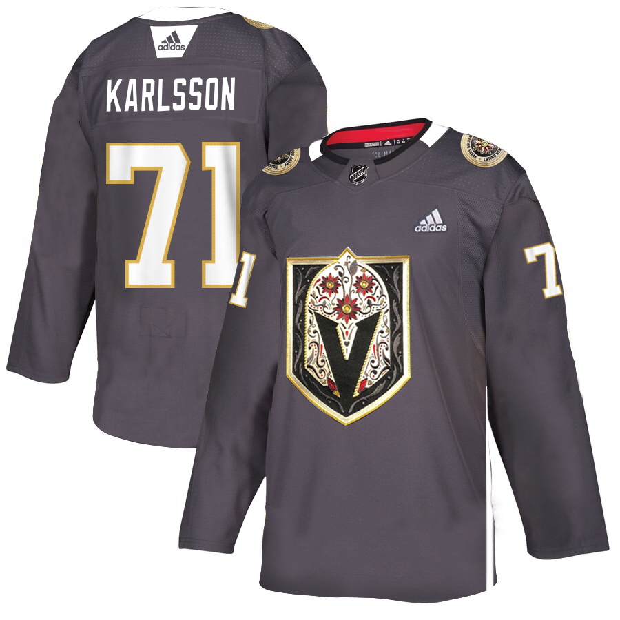 Vegas Golden Knights #71 William Karlsson Men's Grey Adidas Latino Heritage Night Stitched NHL Jersey
