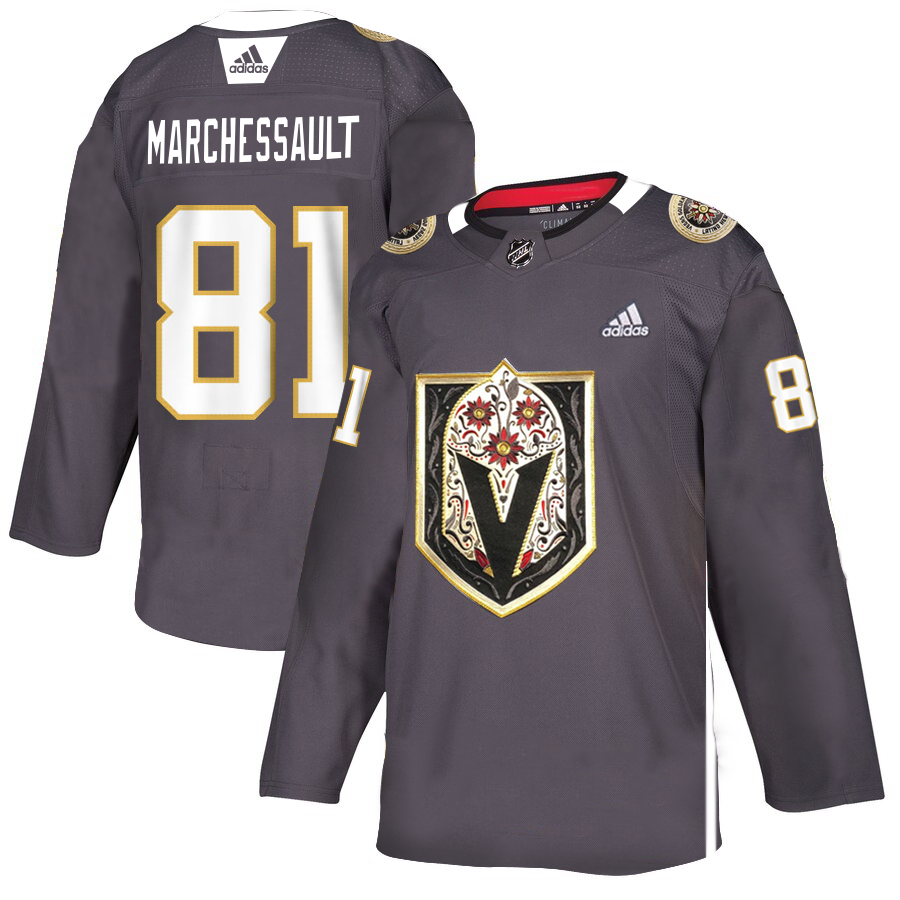 Vegas Golden Knights #81 Jonathan Marchessault Men's Grey Adidas Latino Heritage Night Stitched NHL Jersey