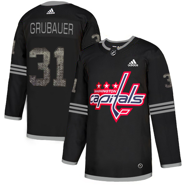 Adidas Capitals #31 Philipp Grubauer Black Authentic Classic Stitched NHL Jersey