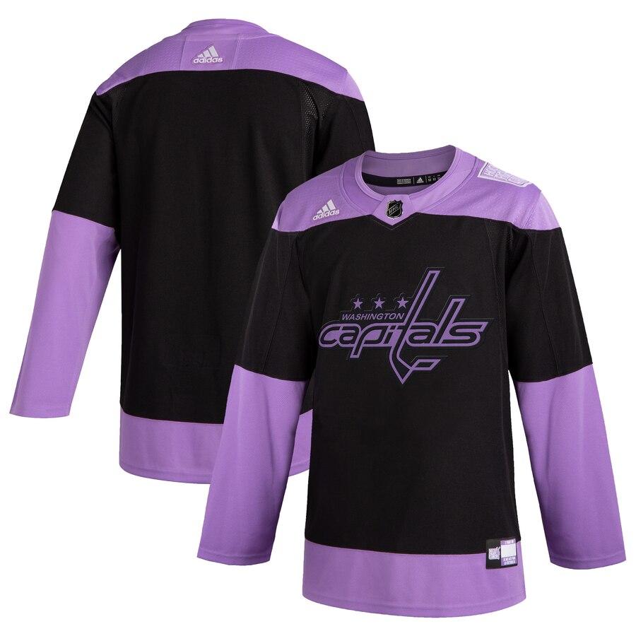 Washington Capitals Adidas Hockey Fights Cancer Practice Jersey Black