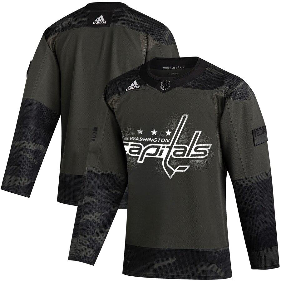 Washington Capitals Adidas 2019 Veterans Day Authentic Practice NHL Jersey Camo