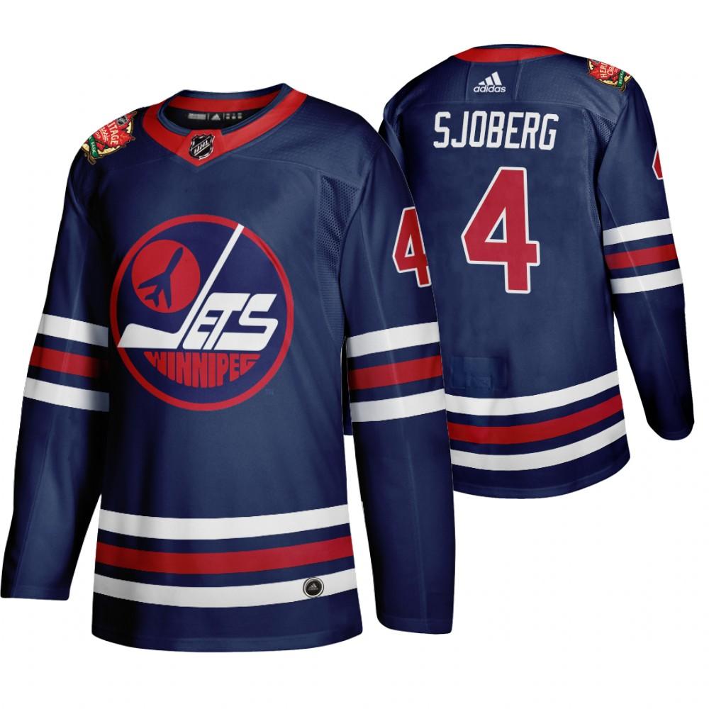 Winnipeg Jets #4 Lars-Erik Sjoberg Men's 2019-20 Heritage Classic Wha Navy Stitched NHL Jersey