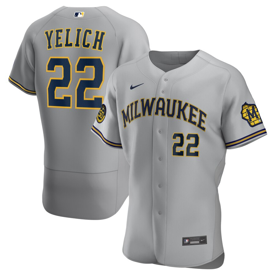 Milwaukee Brewers #22 Christian Yelich Men's Nike Gray Road 2020 Authentic Player MLB Jersey