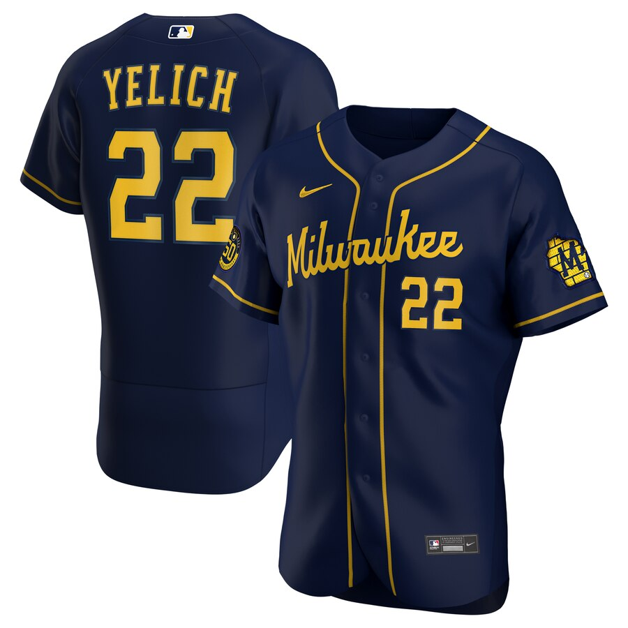 Milwaukee Brewers Christian Yelich Men's Nike Navy Alternate 2020 Authentic Player MLB Jersey