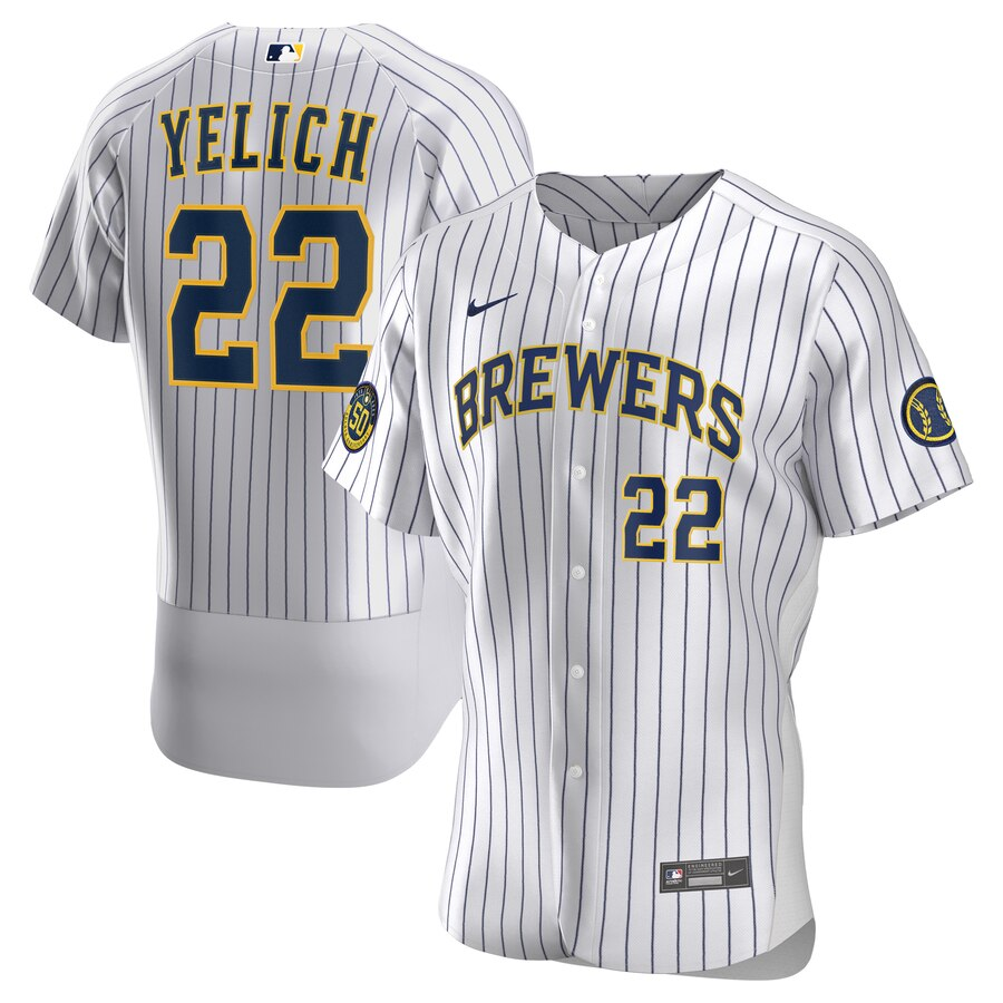 Milwaukee Brewers Christian Yelich Men's Nike White Home 2020 Authentic Player MLB Jersey