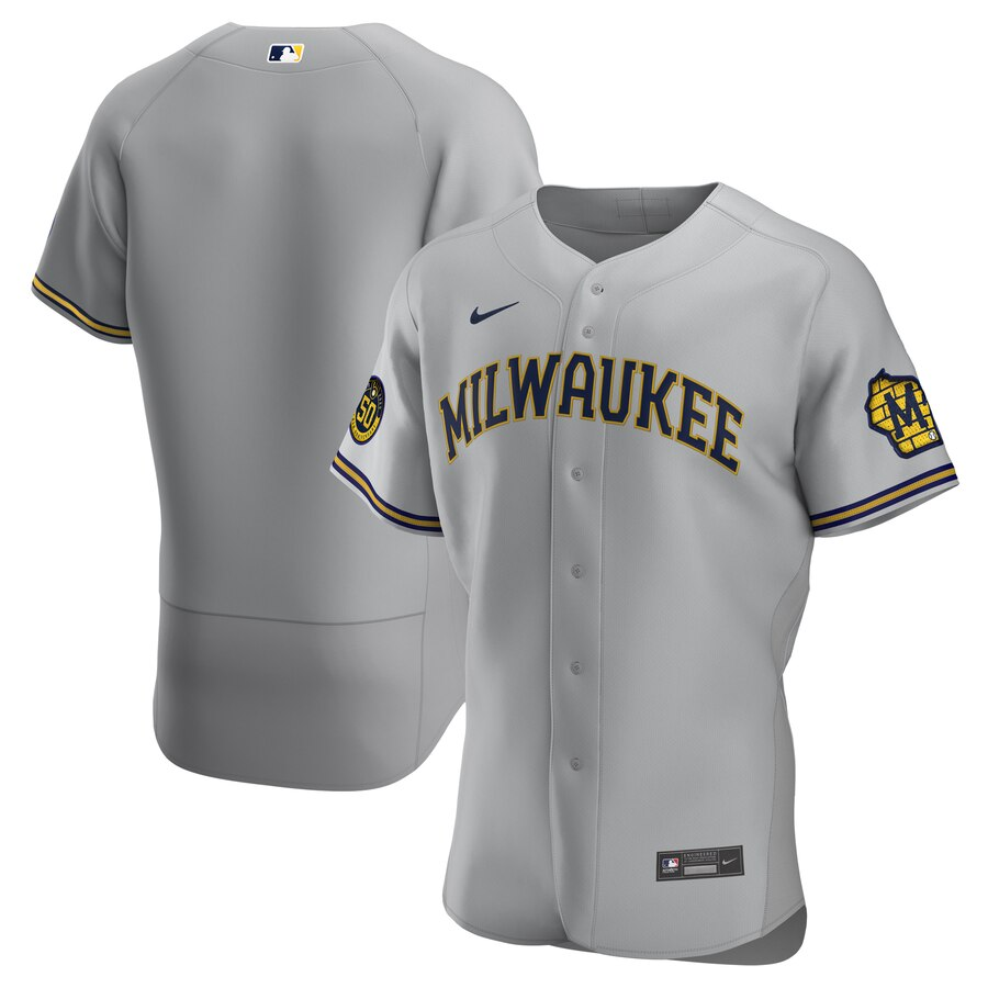 Milwaukee Brewers Men's Nike Gray Road 2020 Authentic Team MLB Jersey