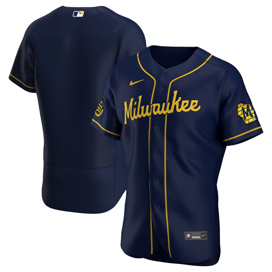 Milwaukee Brewers Men's Nike Navy Alternate 2020 Authentic Team MLB Jersey