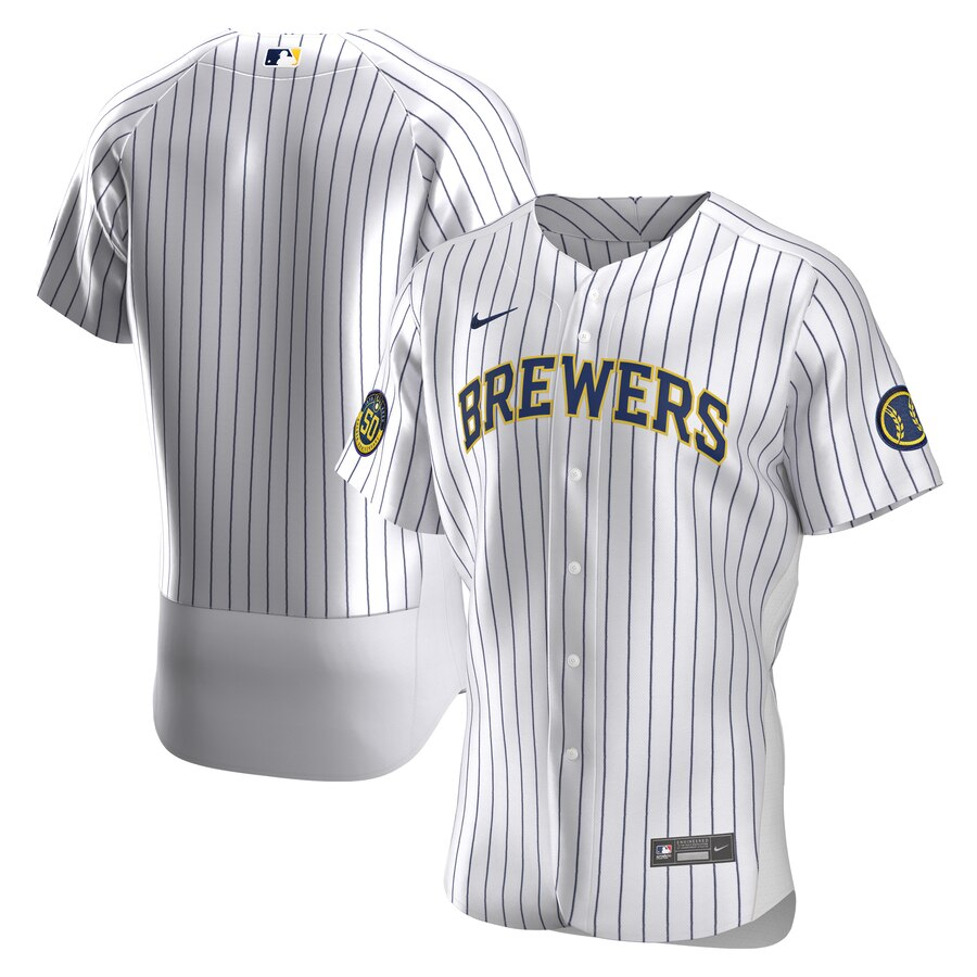 Milwaukee Brewers Men's Nike White Home 2020 Authentic Team MLB Jersey