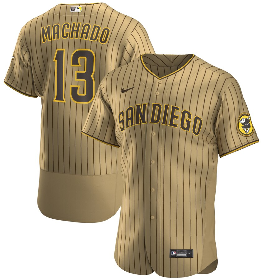 Nike San Diego Padres #13 Manny Machado Men's Nike Tan Brown Authentic Alternate Player Jersey