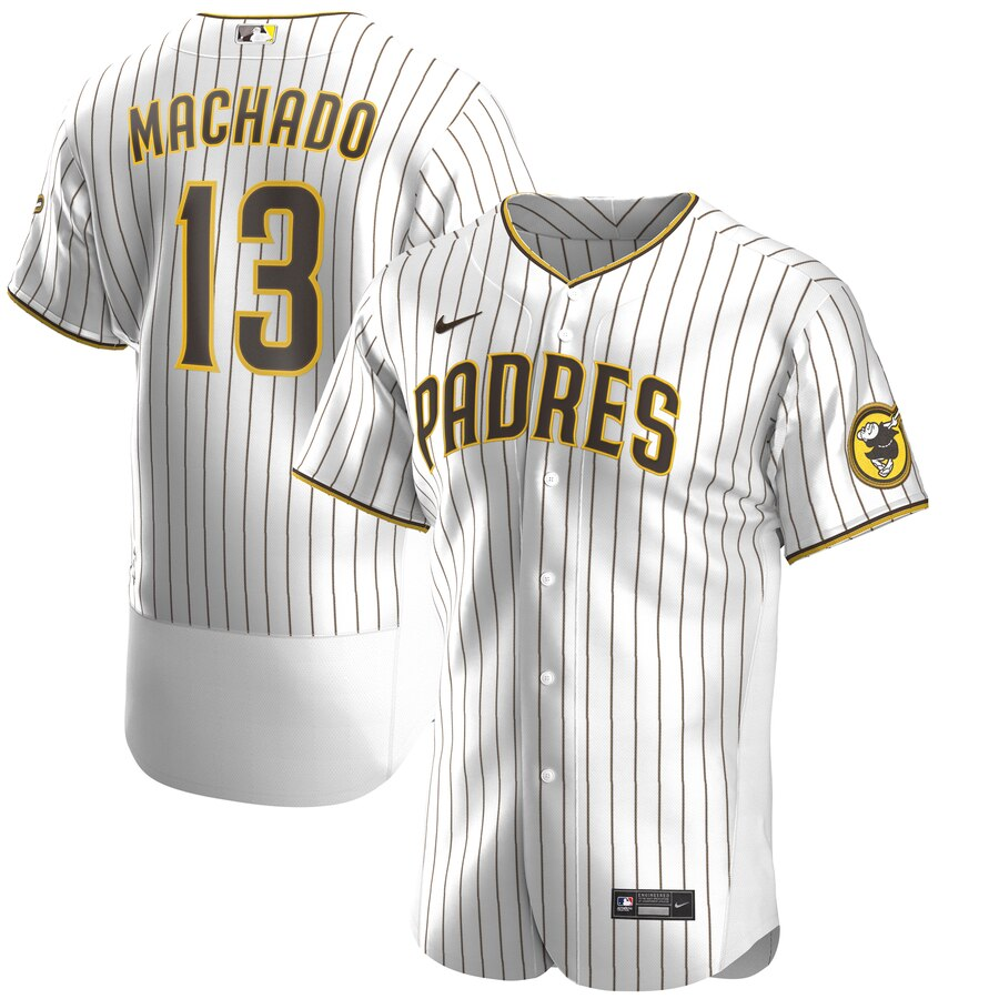Nike San Diego Padres #13 Manny Machado Men's Nike White Brown Authentic Alternate Player Jersey