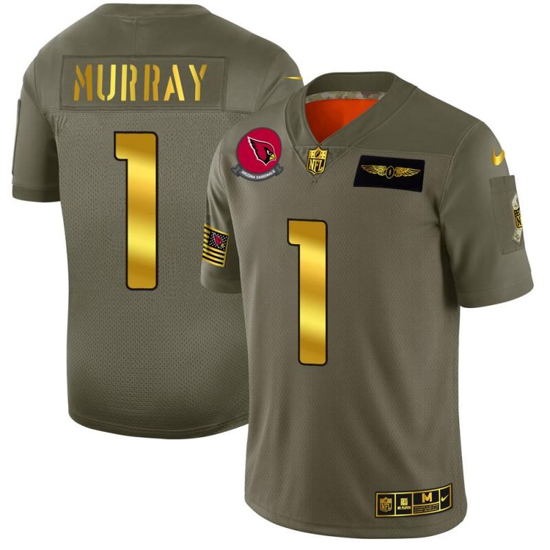 Arizona Cardinals #1 Kyler Murray NFL Men's Nike Olive Gold 2019 Salute to Service Limited Jersey