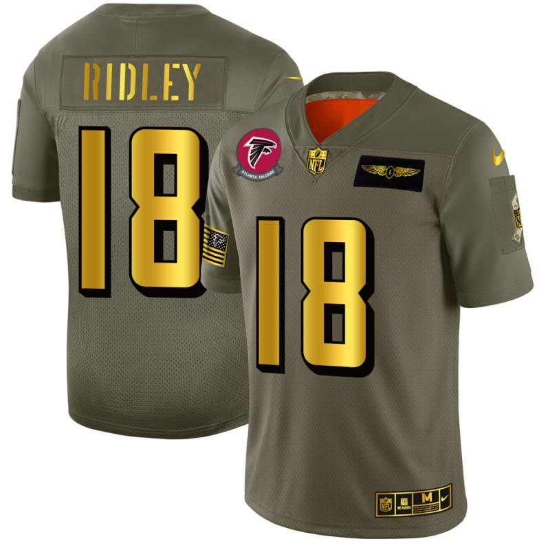 Atlanta Falcons #18 Calvin Ridley NFL Men's Nike Olive Gold 2019 Salute to Service Limited Jersey
