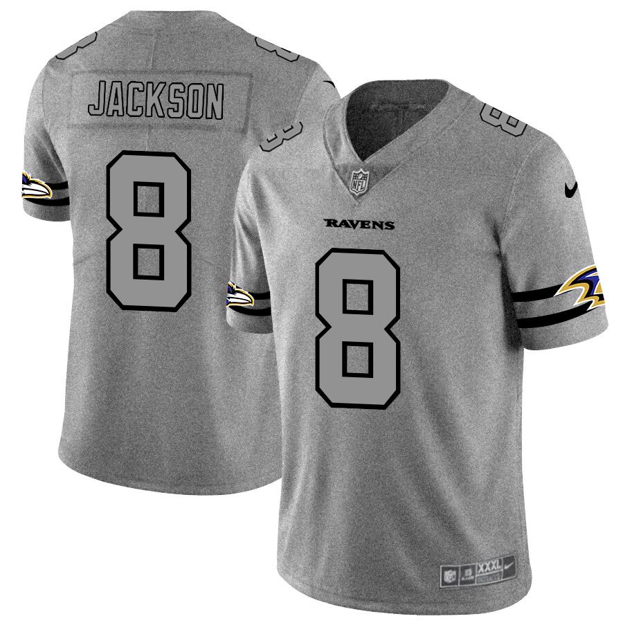 Baltimore Ravens #8 Lamar Jackson Men's Nike Gray Gridiron II Vapor Untouchable Limited NFL Jersey