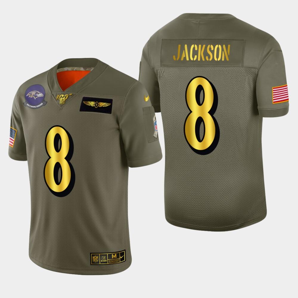 Baltimore Ravens #8 Lamar Jackson Men's Nike Olive Gold 2019 Salute to Service Limited NFL 100 Jersey