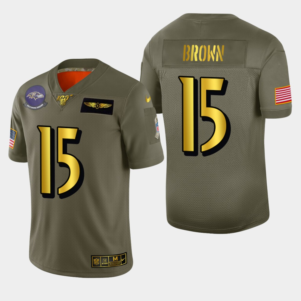 Baltimore Ravens #15 Marquise Brown Men's Nike Olive Gold 2019 Salute to Service Limited NFL 100 Jersey