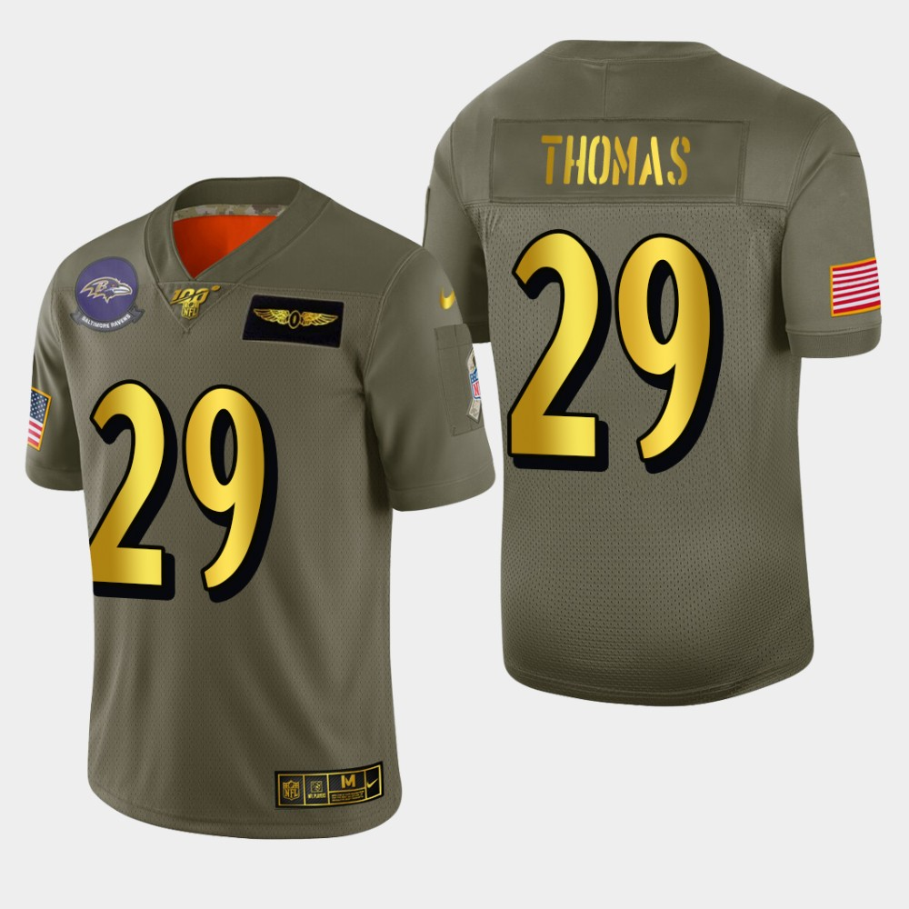 Baltimore Ravens #29 Earl Thomas III Men's Nike Olive Gold 2019 Salute to Service Limited NFL 100 Jersey