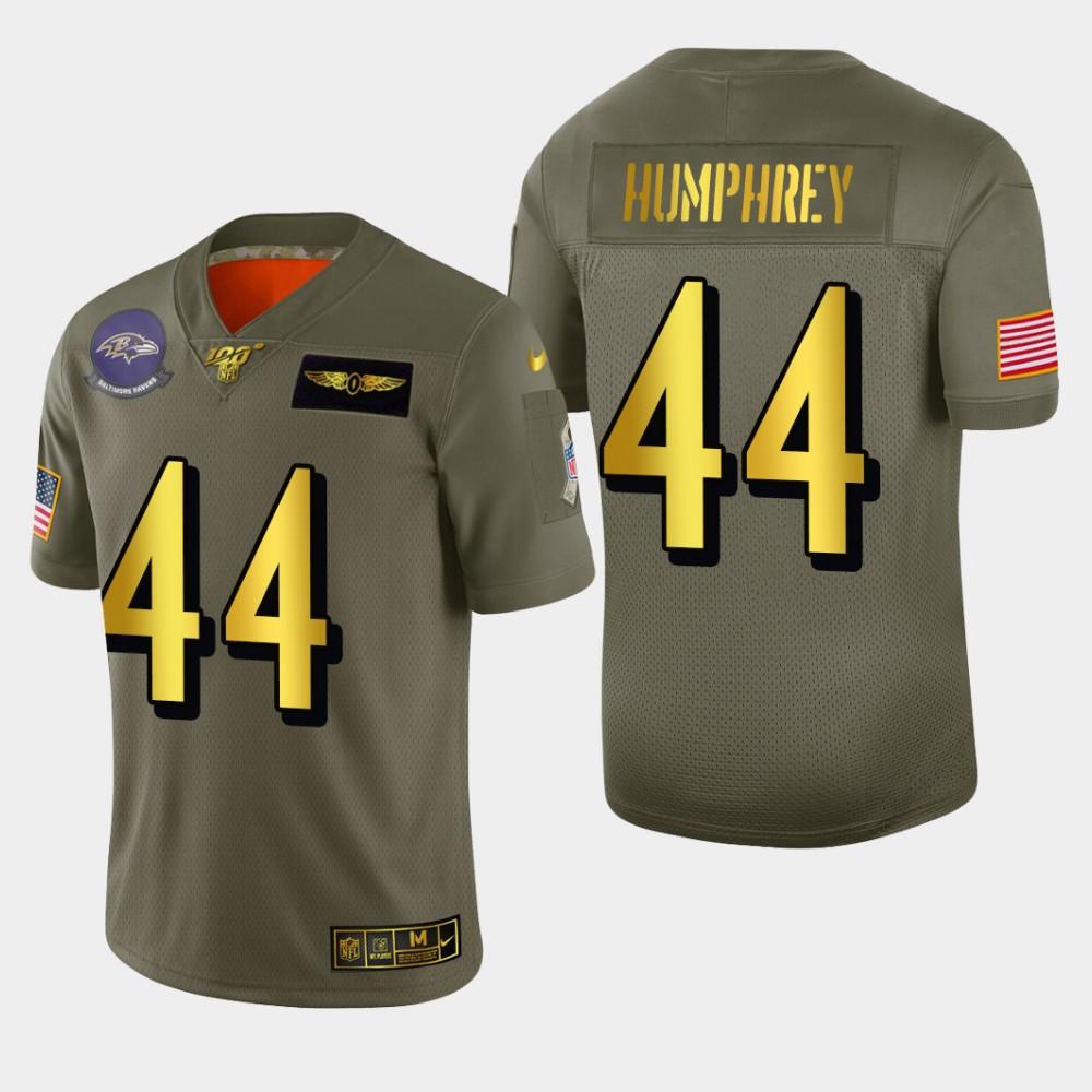 Baltimore Ravens #44 Marlon Humphrey Men's Nike Olive Gold 2019 Salute to Service Limited NFL 100 Jersey