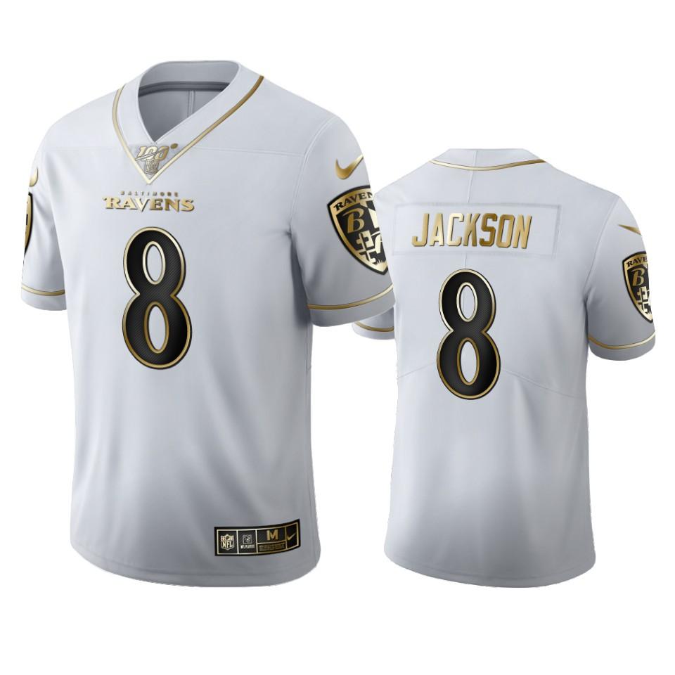 Baltimore Ravens #8 Lamar Jackson Men's Nike White Golden Edition Vapor Limited NFL 100 Jersey