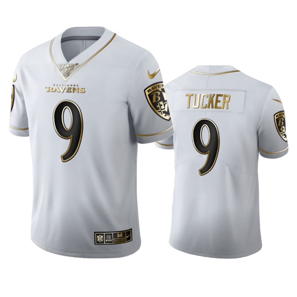 Baltimore Ravens #9 Justin Tucker Men's Nike White Golden Edition Vapor Limited NFL 100 Jersey