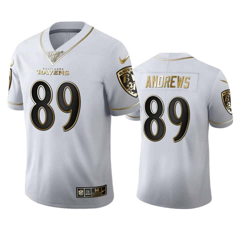 Baltimore Ravens #89 Mark Andrews Men's Nike White Golden Edition Vapor Limited NFL 100 Jersey