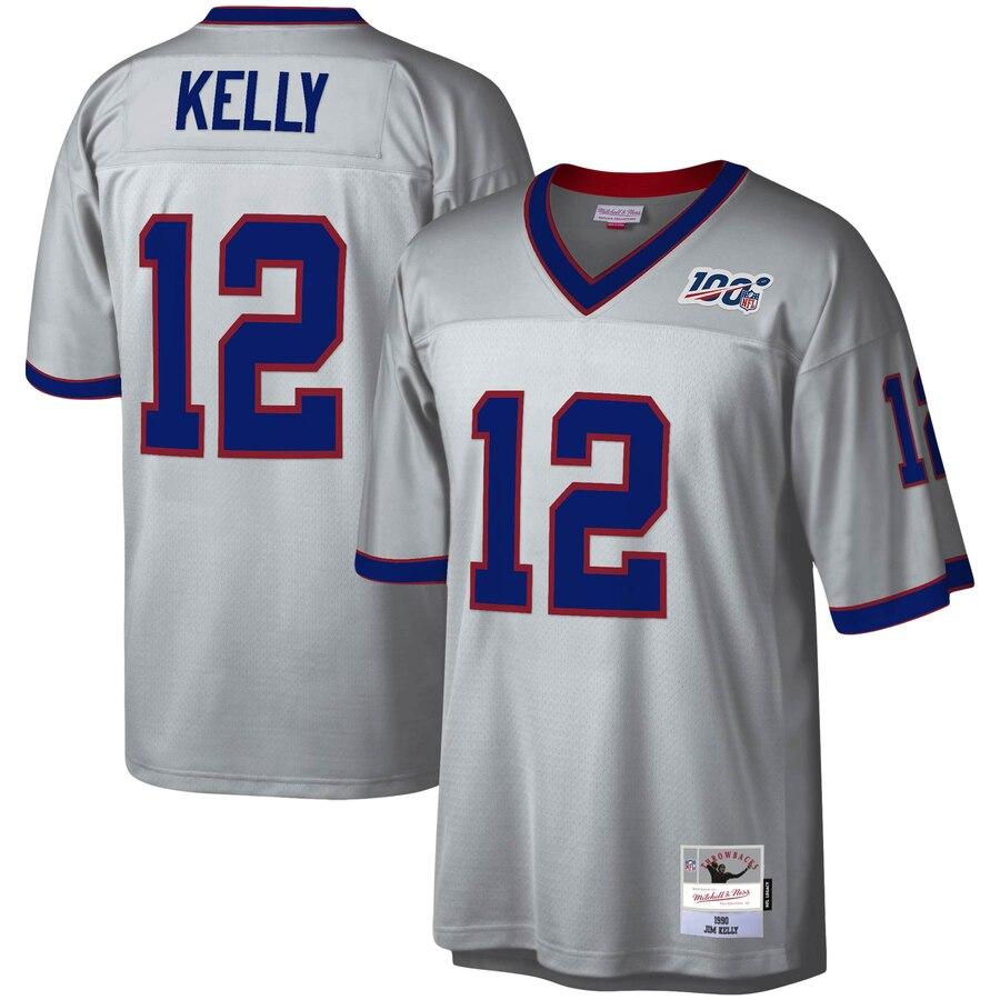 Buffalo Bills #12 Jim Kelly Mitchell & Ness NFL 100 Retired Player Platinum Jersey