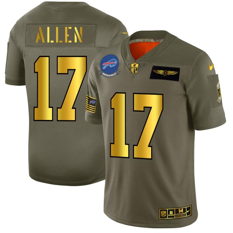 Buffalo Bills #17 Josh Allen NFL Men's Nike Olive Gold 2019 Salute to Service Limited Jersey