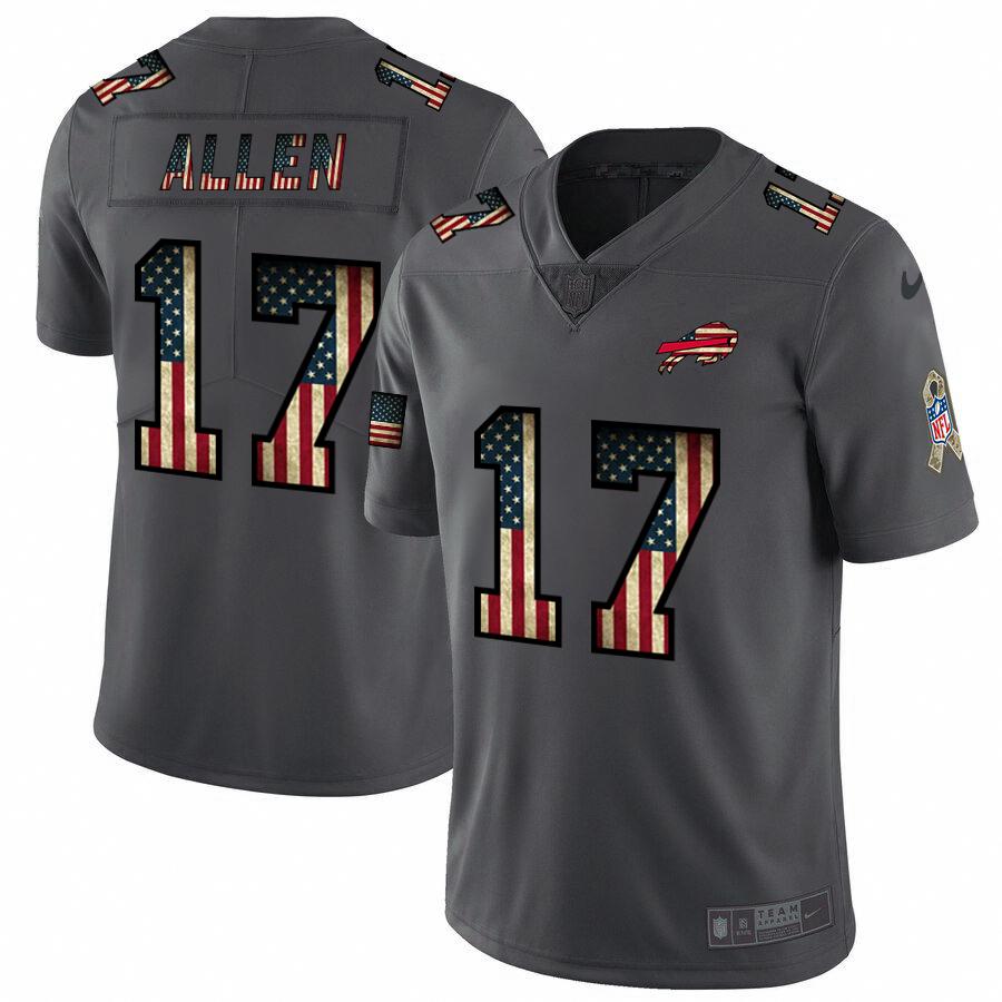 Buffalo Bills #17 Josh Allen Nike 2018 Salute to Service Retro USA Flag Limited NFL Jersey