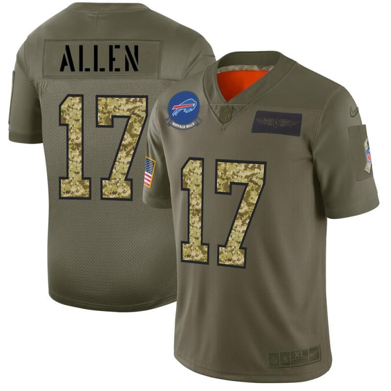 Buffalo Bills #17 Josh Allen Men's Nike 2019 Olive Camo Salute To Service Limited NFL Jersey
