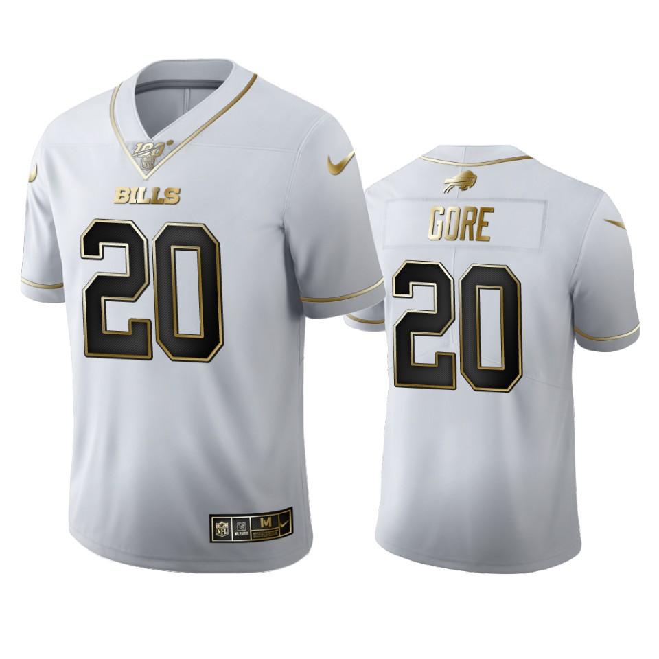 Buffalo Bills #20 Frank Gore Men's Nike White Golden Edition Vapor Limited NFL 100 Jersey