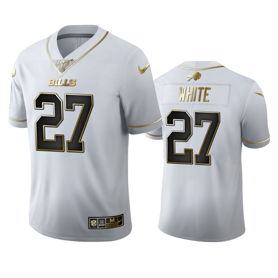 Buffalo Bills #27 Tre'Davious White Men's Nike White Golden Edition Vapor Limited NFL 100 Jersey