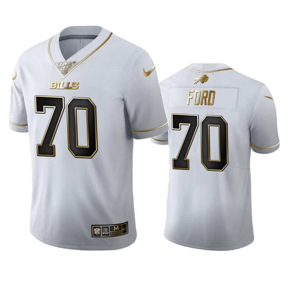 Buffalo Bills #70 Cody Ford Men's Nike White Golden Edition Vapor Limited NFL 100 Jersey