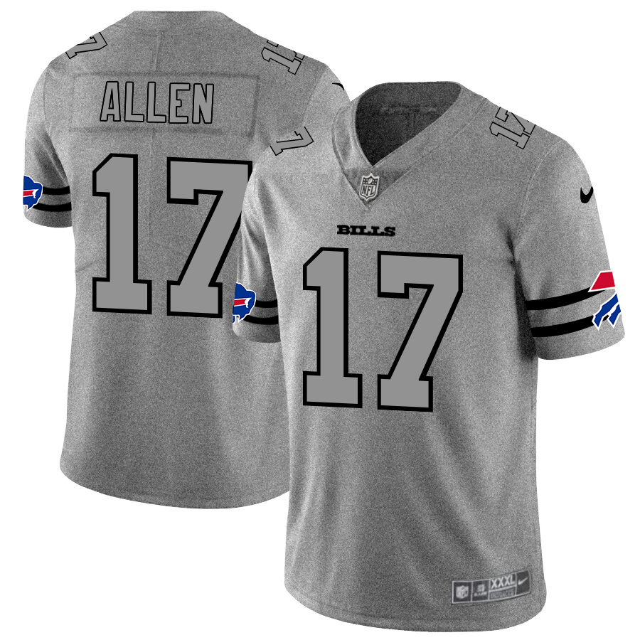 Buffalo Bills #17 Josh Allen Men's Nike Gray Gridiron II Vapor Untouchable Limited NFL Jersey