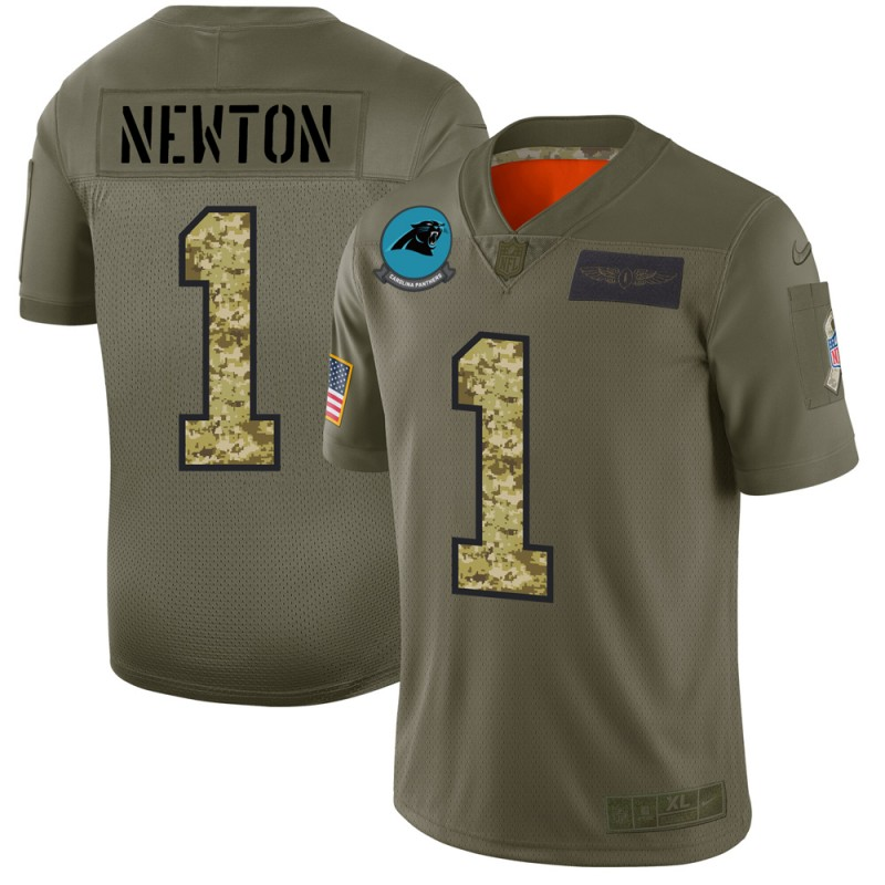 Carolina Panthers #1 Cam Newton Men's Nike 2019 Olive Camo Salute To Service Limited NFL Jersey