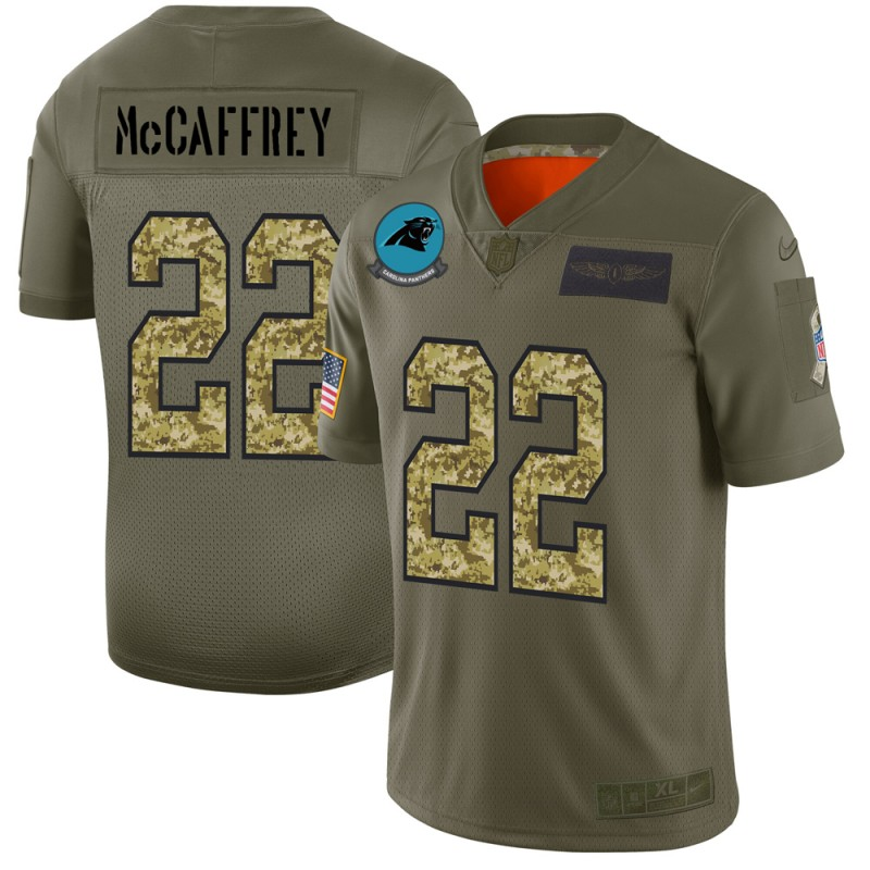 Carolina Panthers #22 Christian McCaffrey Men's Nike 2019 Olive Camo Salute To Service Limited NFL Jersey