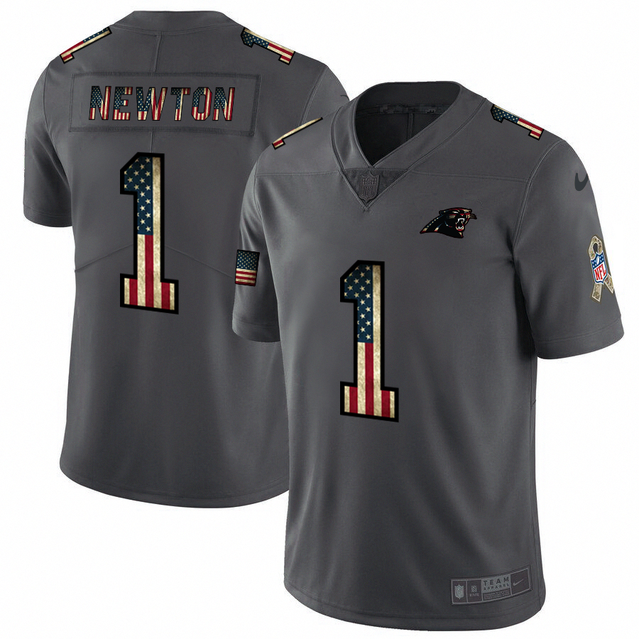 Nike Panthers #1 Cam Newton 2018 Salute To Service Retro USA Flag Limited NFL Jersey