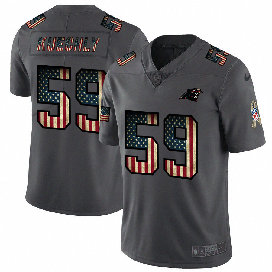 Nike Panthers #59 Luke Kuechly 2018 Salute To Service Retro USA Flag Limited NFL Jersey