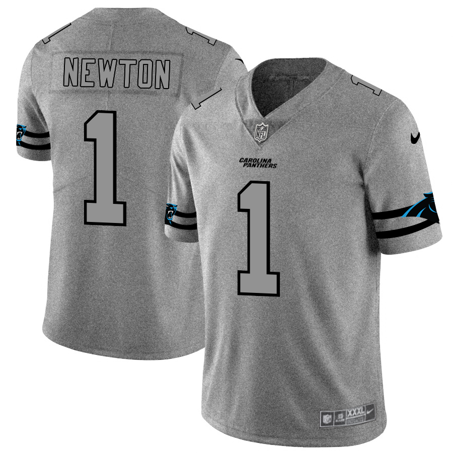Carolina Panthers #1 Cam Newton Men's Nike Gray Gridiron II Vapor Untouchable Limited NFL Jersey