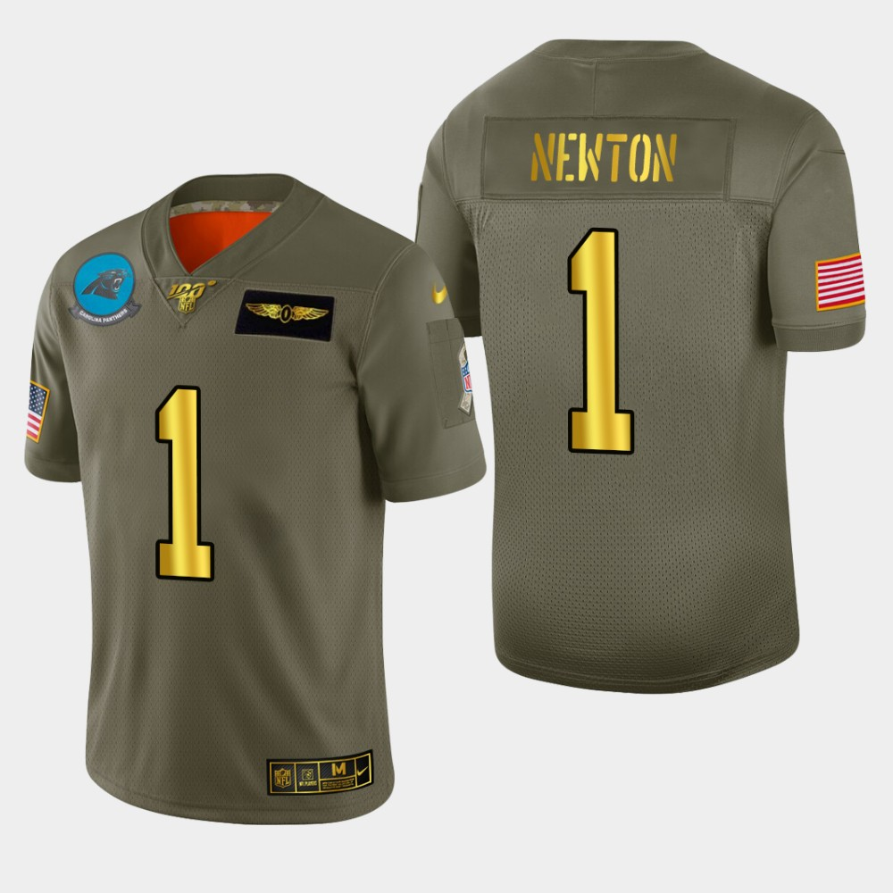 Carolina Panthers #1 Cam Newton Men's Nike Olive Gold 2019 Salute to Service Limited NFL 100 Jersey