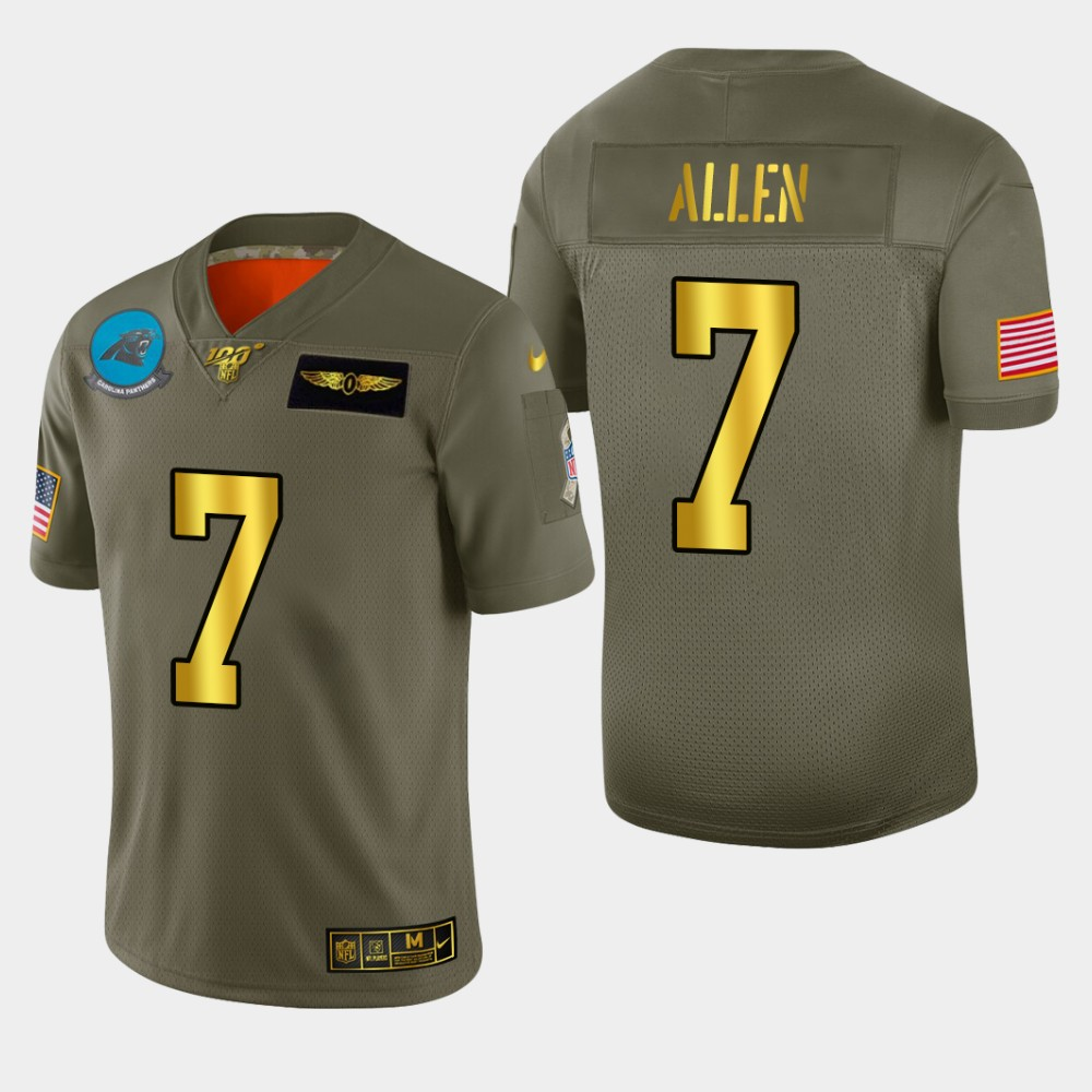 Carolina Panthers #7 Kyle Allen Men's Nike Olive Gold 2019 Salute to Service Limited NFL 100 Jersey